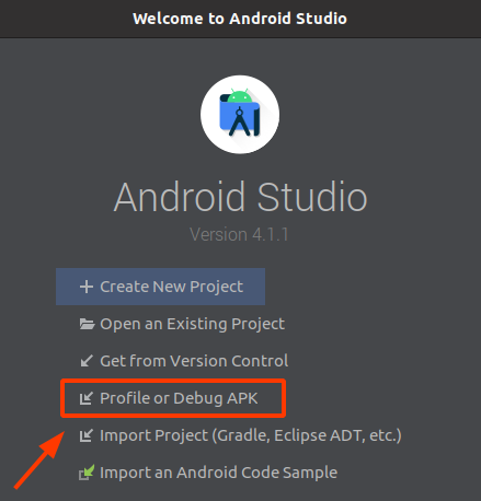 Android Studio - profile or debug APK