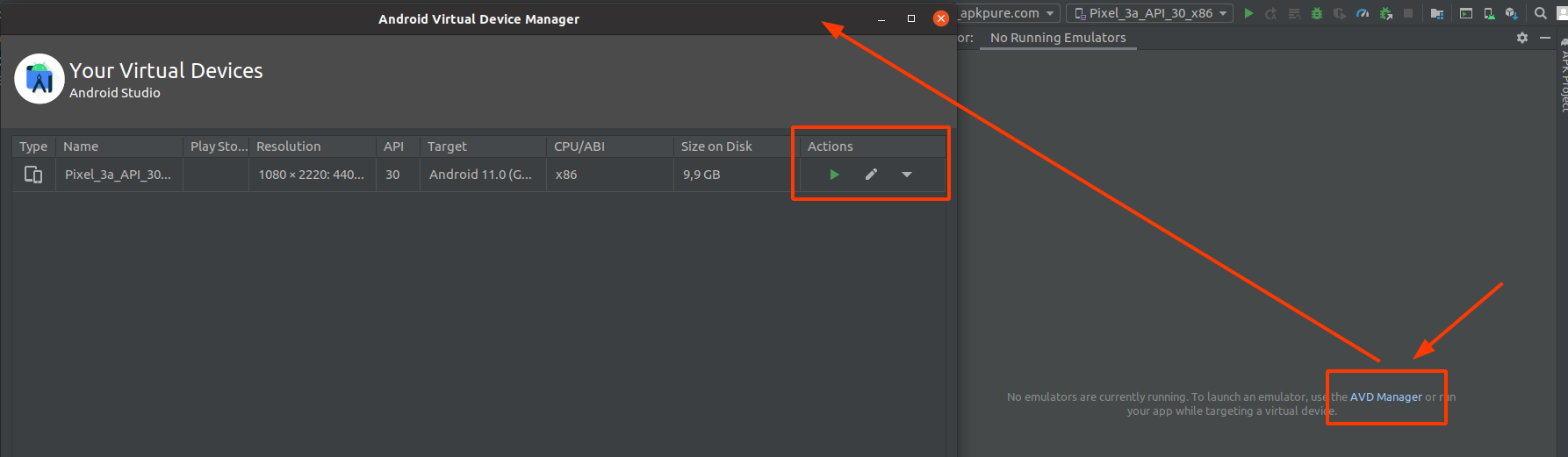 Android Studio - launch AVD